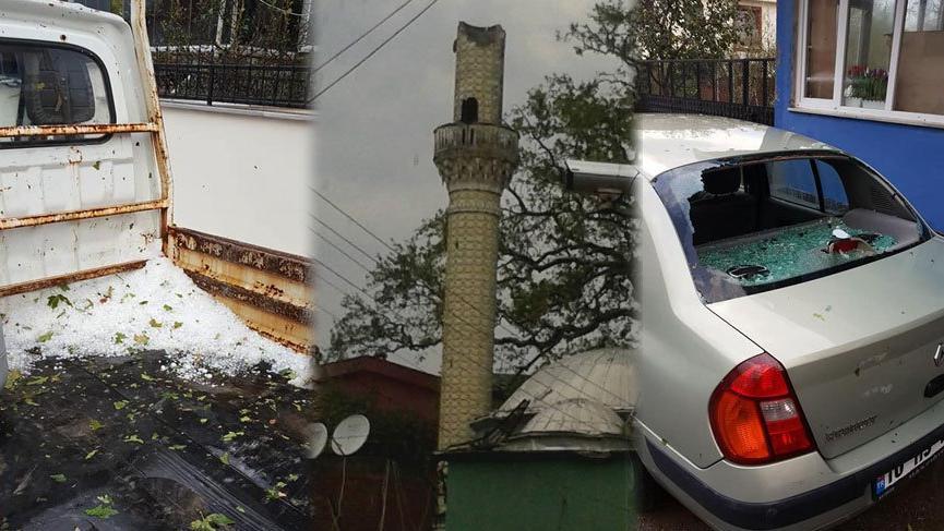Balıkesir'de 4 dakikalık dolu yağışı cami minaresini yıktı
