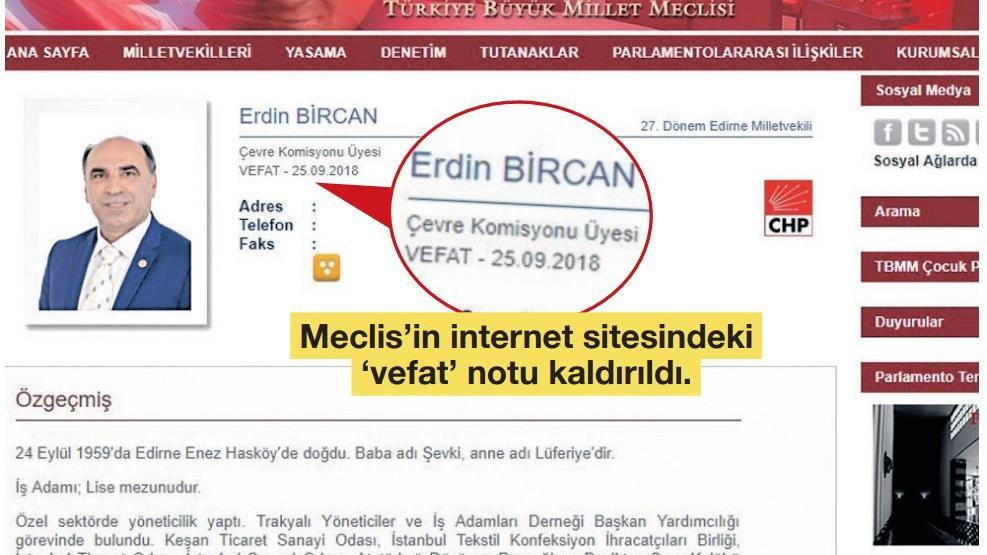 Meclis, CHP'li Erdin Bircan'ı asılsız haberle öldürdü