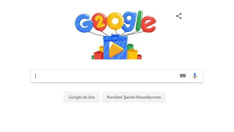 Google 20. yaşını Doodle'la kutluyor! İşte Google yaş günü Doodle ve videosu…