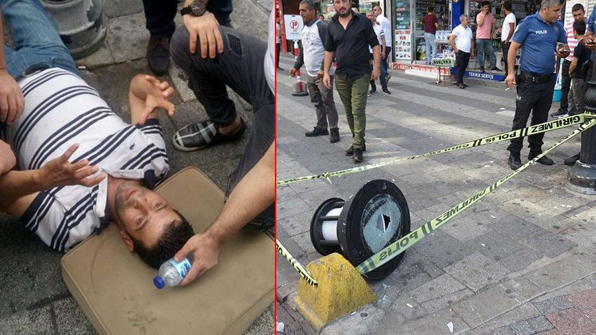 Kadıköy'de inanılmaz olay: Üstüne sokak lambası düştü