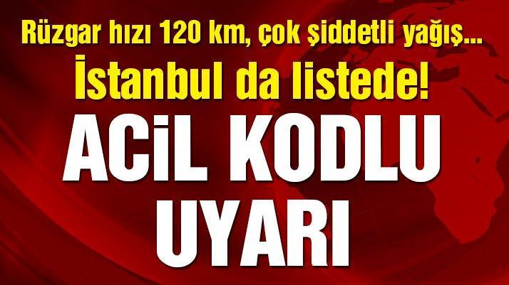 Son dakika: Kasırga için acil kodlu uyarı! Meteoroloji İstanbul hava durumunu da uyarı listesine aldı...