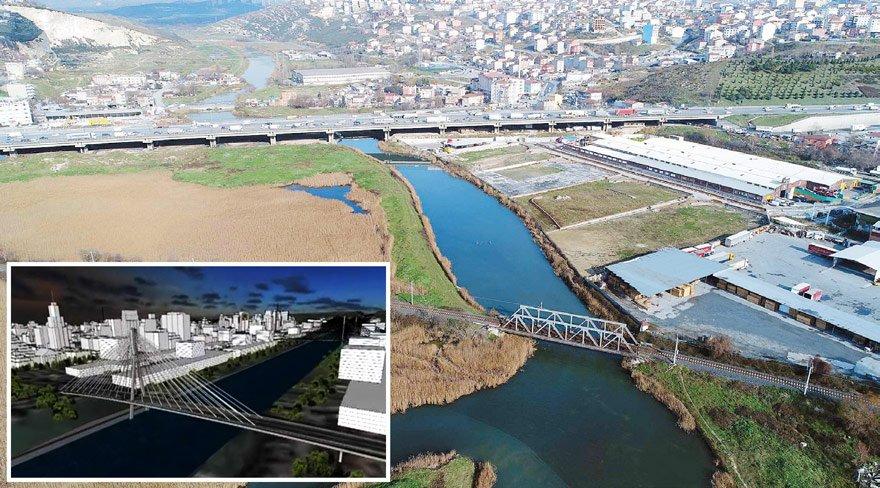45 kilometrelik Küçükçekmece-Sazlıdere- Durusu koridoru (sağda), yukarıda maketi görülen Kanal İstanbul projesinin yolu olarak tespit edildi. Güzergah, havadan bu şekilde fotoğraflandı.