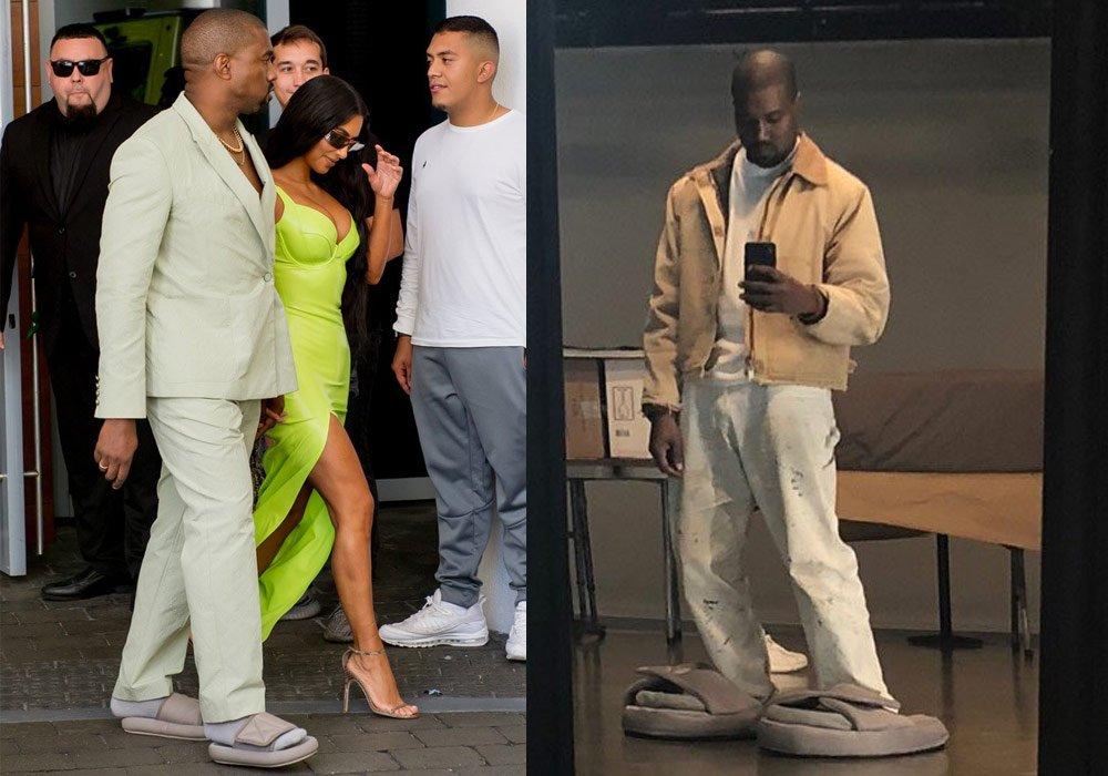 Kanye West önce küçük, sonra büyük boy terlikleriyle gündeme geldi.