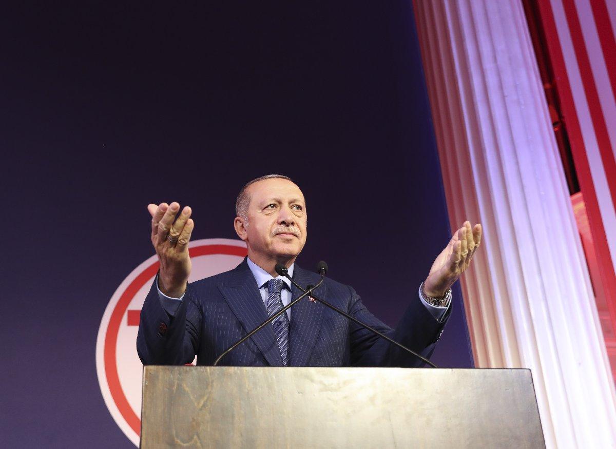 Cumhurbaşkanı Recep Tayyip Erdoğan, Türk-Amerikan Ulusal Yönlendirme Komitesi (TASC) tarafından düzenlenen etkinlikte konuştu. Fotoğraf: AA