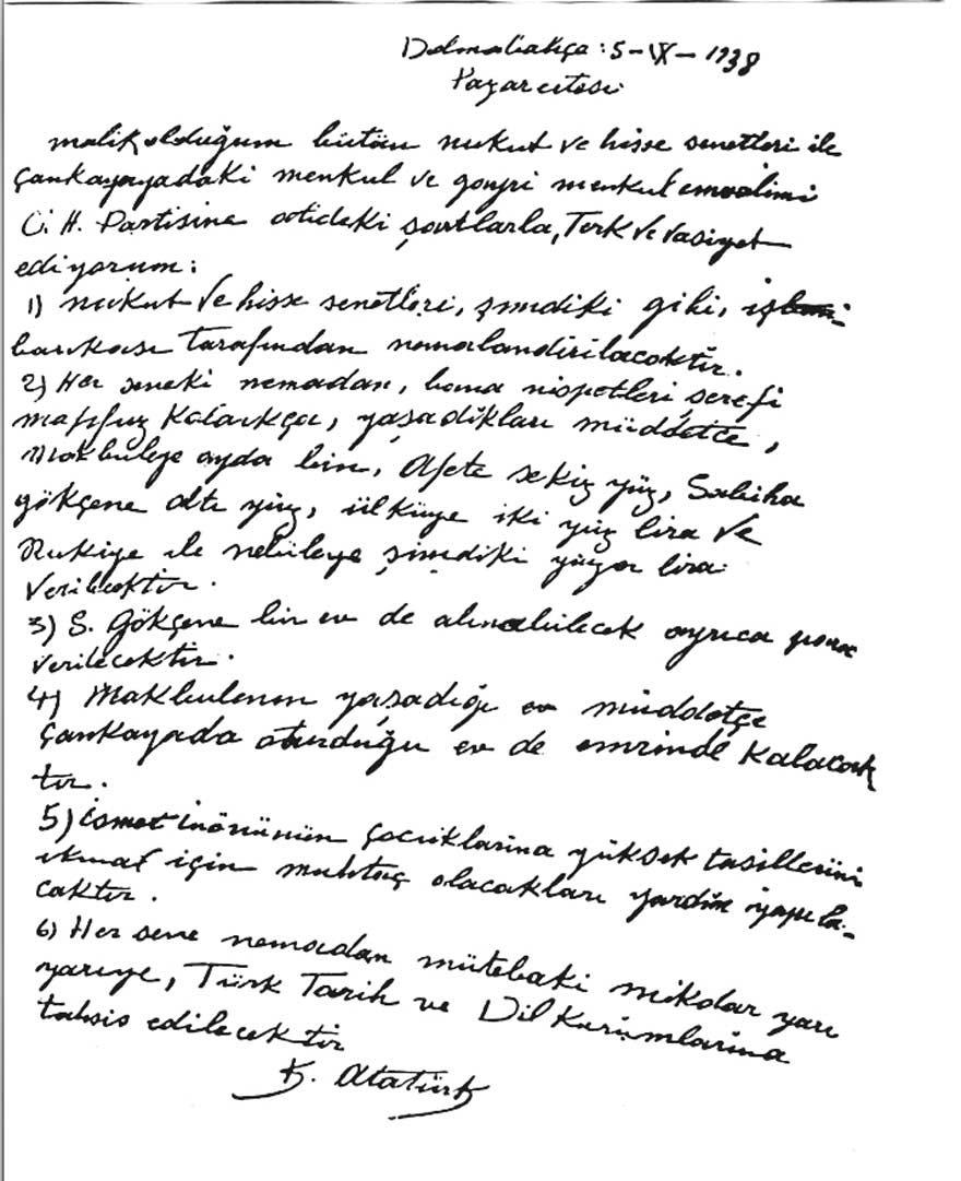 Atatürk'ün el yazısıyla kaleme aldığı vasiyeti. (5 Eylül 1938)