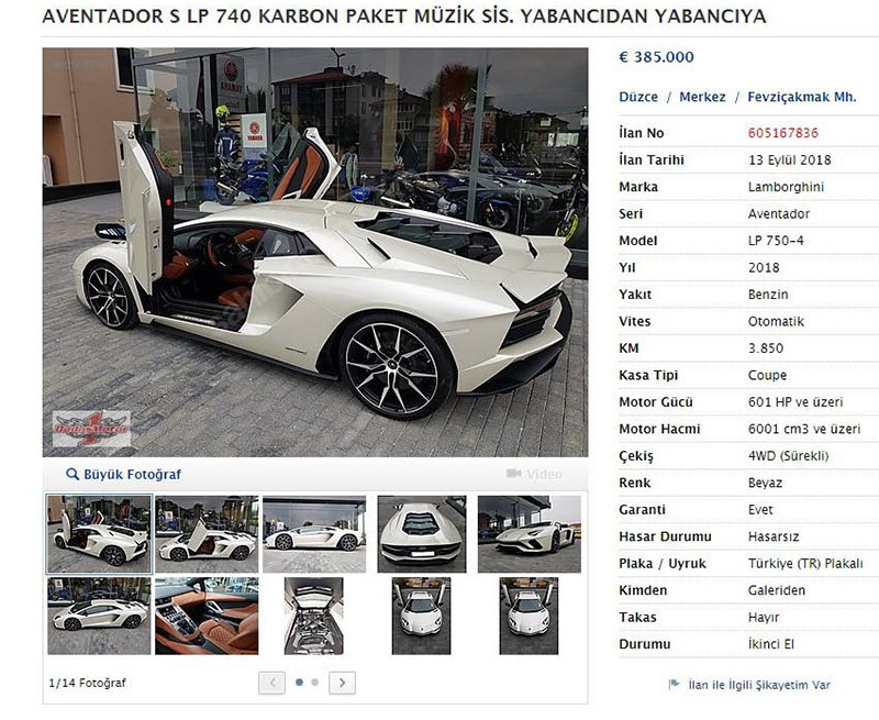 Sofuoğlu aracını 385 bin Euro'ya satışa çıkardı. Foto: Sözcü