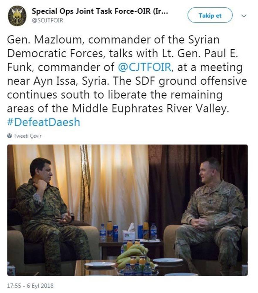 ABD'li general ile aranan YPG'li teröristin görüşmeye dair fotoğraf, koalisyonun resmi twitter hesabından böyle paylaşıldı
