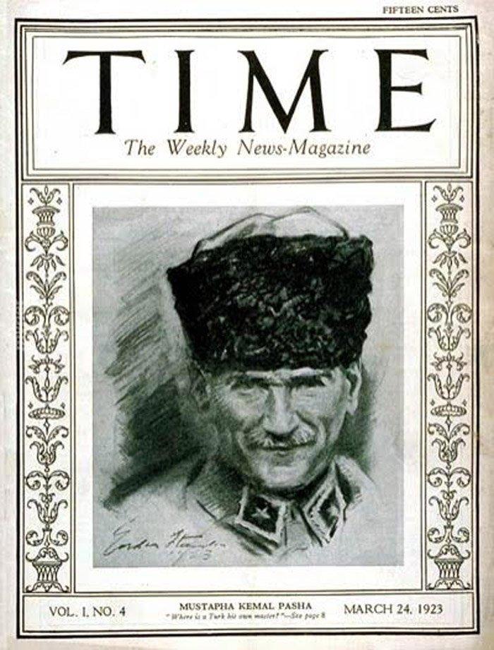 Time dergisi 24 Mart 1923 tarihinde Mustafa Kemal Atatürk'ü kapağına taşımıştı.