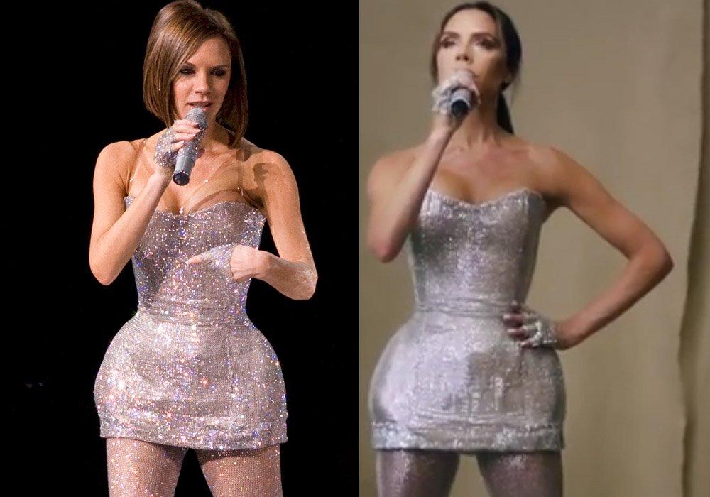 Victoria Beckham, 2007 yılında Spice Girls ile çıktığı turnede gümüş, ışıltılı bir elbise giymişti. (solda)