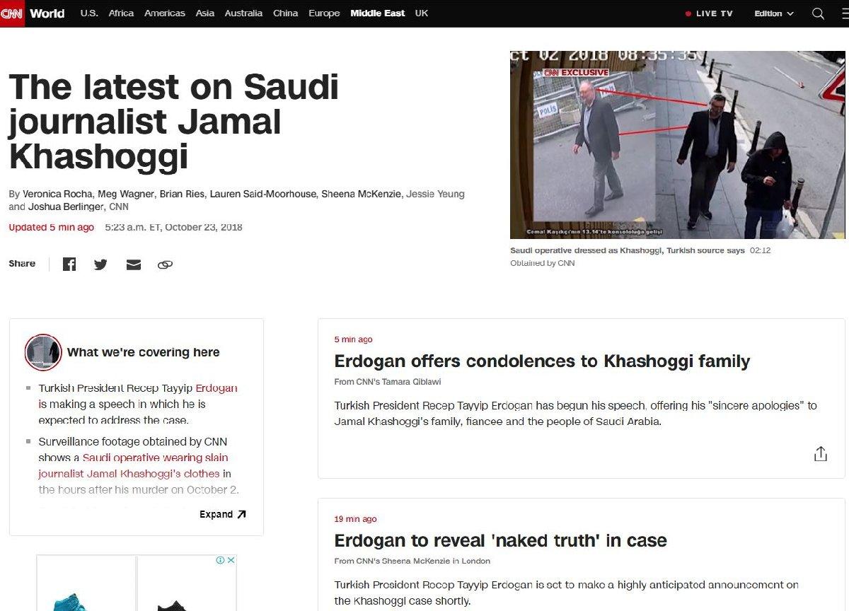 CNN internet sitesinden yazılı olarak canlı yayını takip etti.