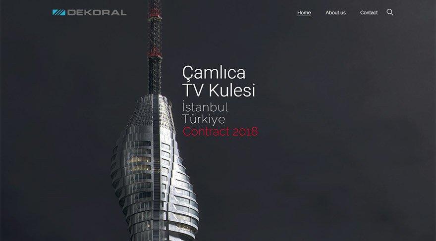 Dekoral Yapı'nın internet sitesi açıldığında ekrana çamlıca kulesinin görüntüsü geliyor.