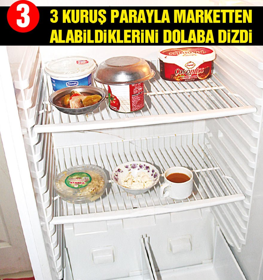 İşte Akın Ailesi'nin buzdolabı... Baba İzzet'in marketten aldıklarını eşi Ayşe Hanım buzdolabına koydu. Sonuç ortada.
