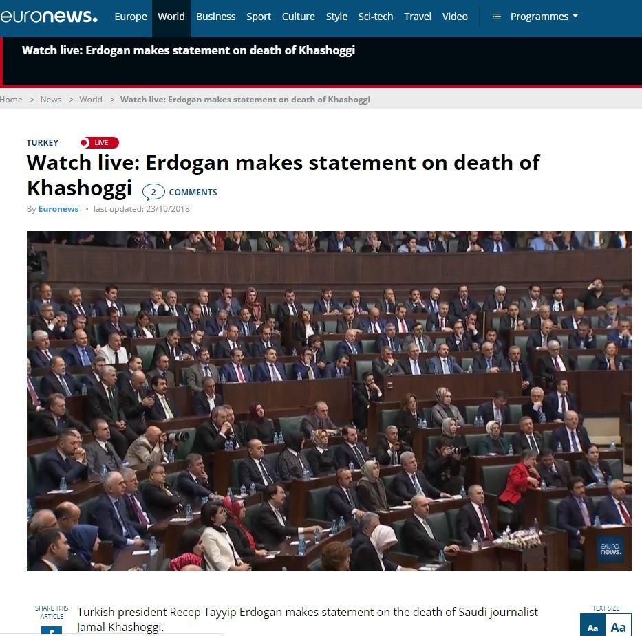 Euronews, gelişmeyi canlı yayından aktaran mecralardan bir diğeriydi.