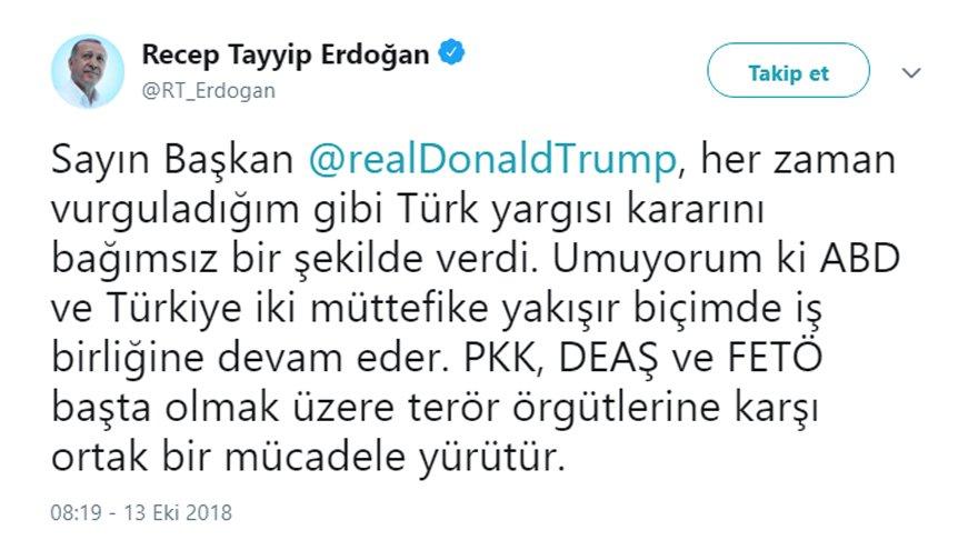 Erdoğan'ın Twitter hesabından paylaştığı mesaj