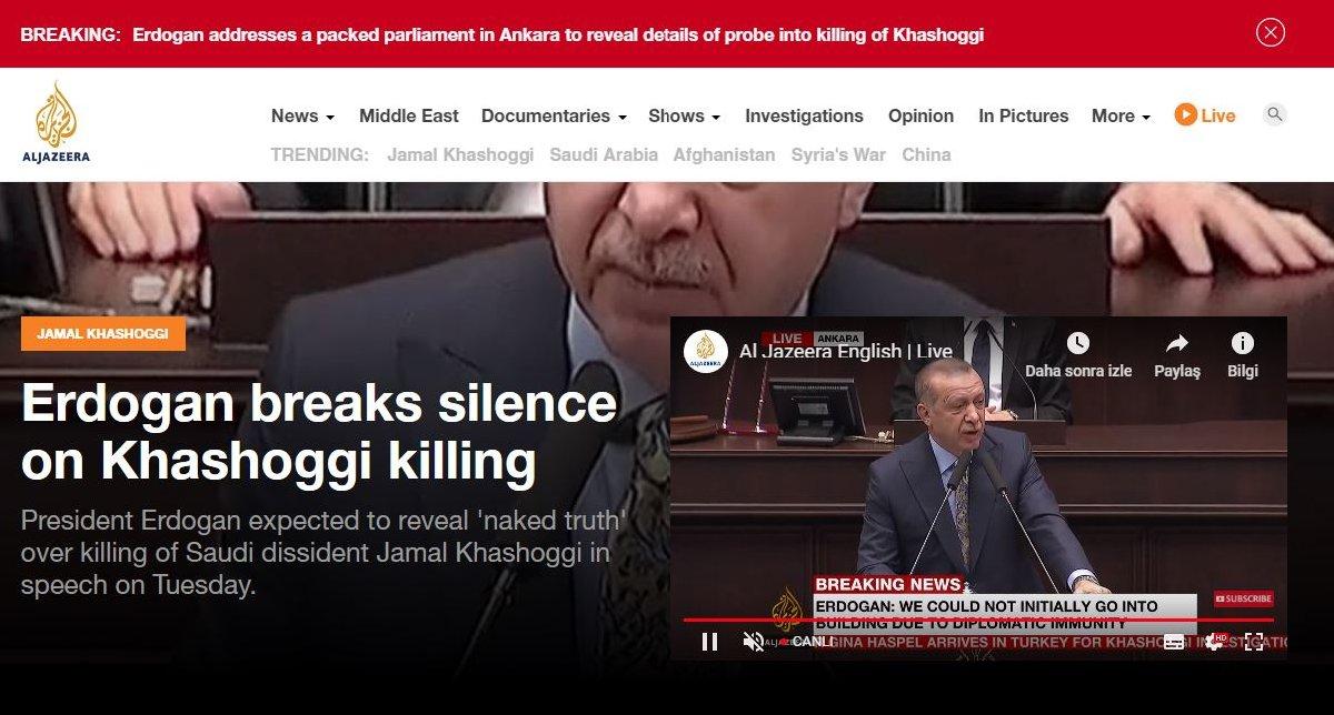 Al Jazeera, Arapça ve İngilizce olarak konuşmayı canlı yayında verdi.