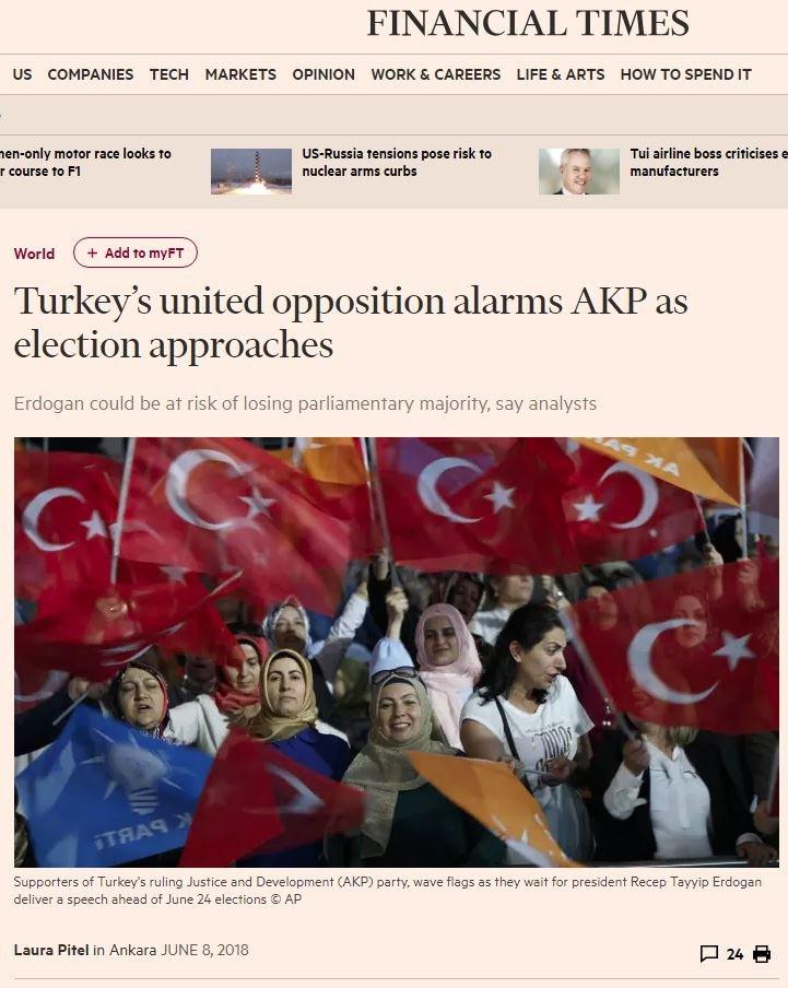 24 Haziran seçimleri öncesinde Financial Times'ın hazırladığı haberde ismini vermek istemeyen AKP'li yetkililer açıklamalarda bulunmuştu.