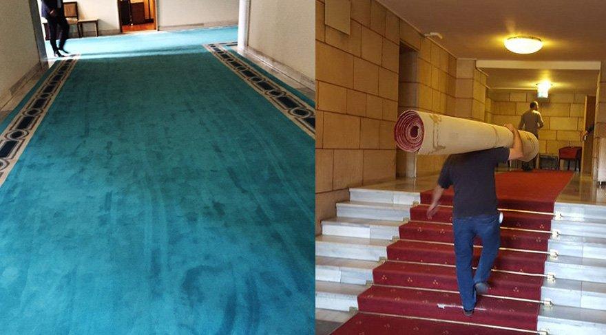 Meclis'in kırmızı halıları yerine turkuaz halılar serildi