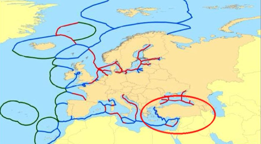 Turkish territorial waters on the map where the share of Cetin's limited remains only through the Mediterranean.