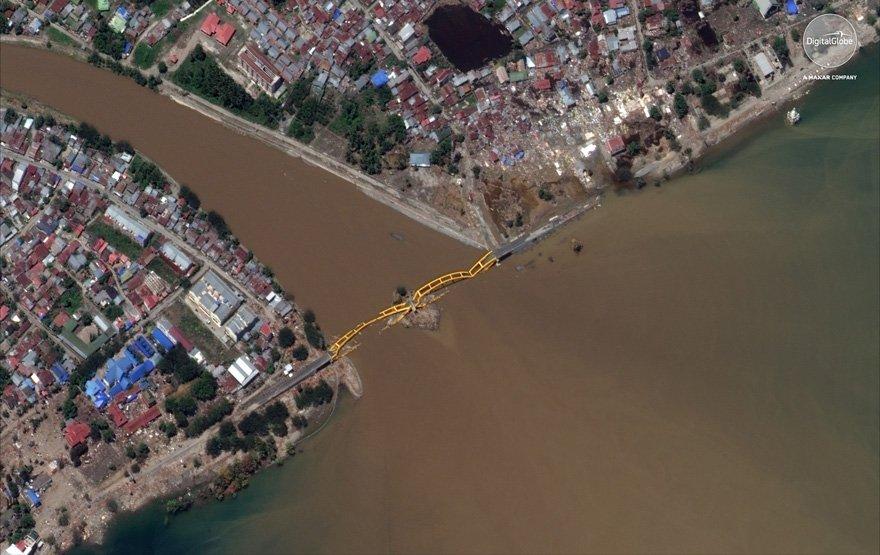 Yaşanan felaket sonrasında çekilen uydu görüntüsü yaşanan şiddetin boyutunu gözler önüne seriyor.