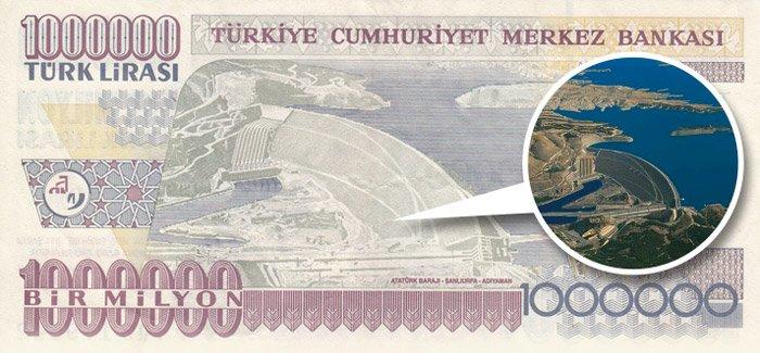 Bir önceki emisyon serisine ait 1.000.000 Türk Lirası'nın üzerinde Atatürk Barajı bulunyordu.