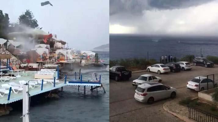 Antalya'da hortum plajdaki şemsiye ve şezlongları uçurdu
