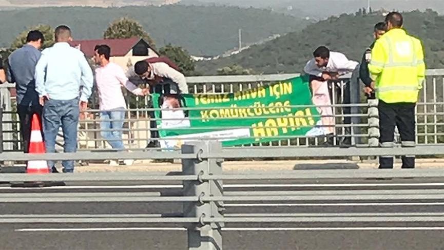 Osmangazi Köprüsü'nde 'Kömürcüler' eylemi