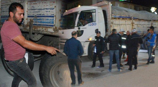 Freni boşalan kamyon sürücüsü şoka girdi