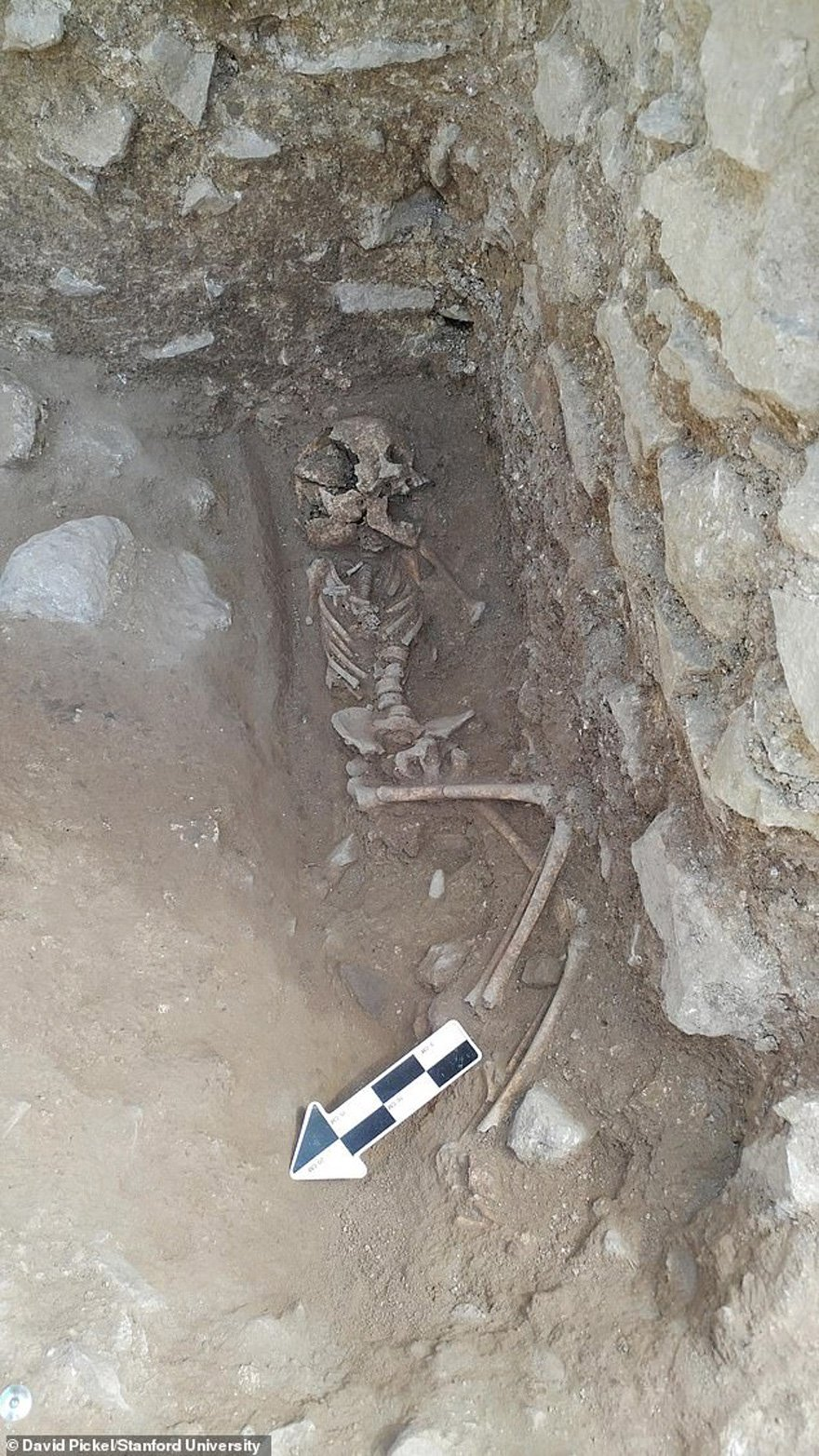 Yetkililer, iskeletin ağzının içinde yumruk büyüklüğünde bir taş buldu.