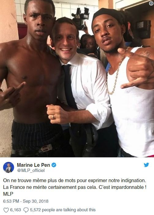 Fransız siyasetçi Le Pen, Macron'u Twitter üzerinden çok sert bir dille eleştirdi.