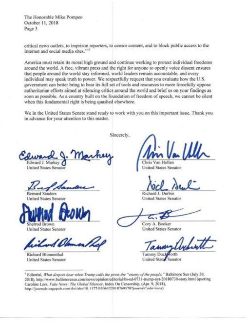 Senatörler mektubun altına imzalarını attı.