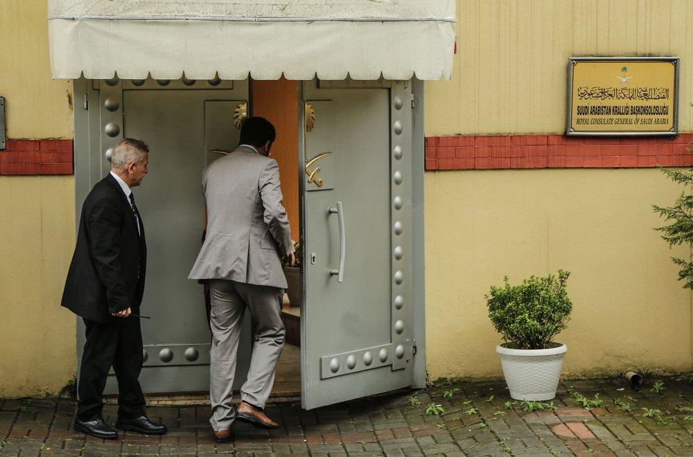 FOTO:DHA - Suudi Arabistan'ın İstanbul Başkonsolosluğu binasında hâlâ inceleme yapılamadı.