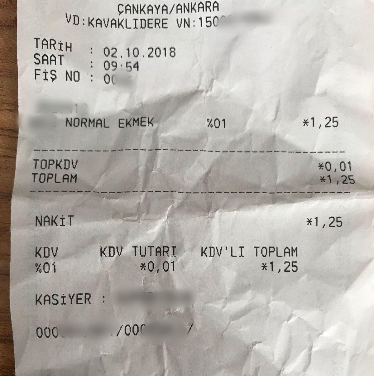 Ankara'da bu sabah 1.25 TL'den alınan ekmeğin fişi
