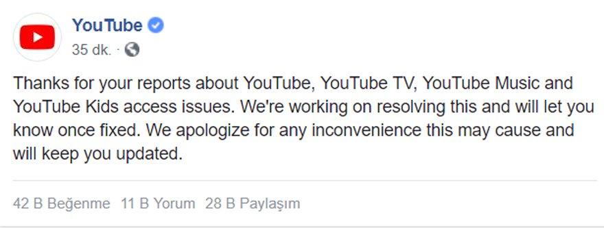 YouTube yetkililerinin kuruma ait Twitter ve Facebook heasplarından yaptıkları açıklama