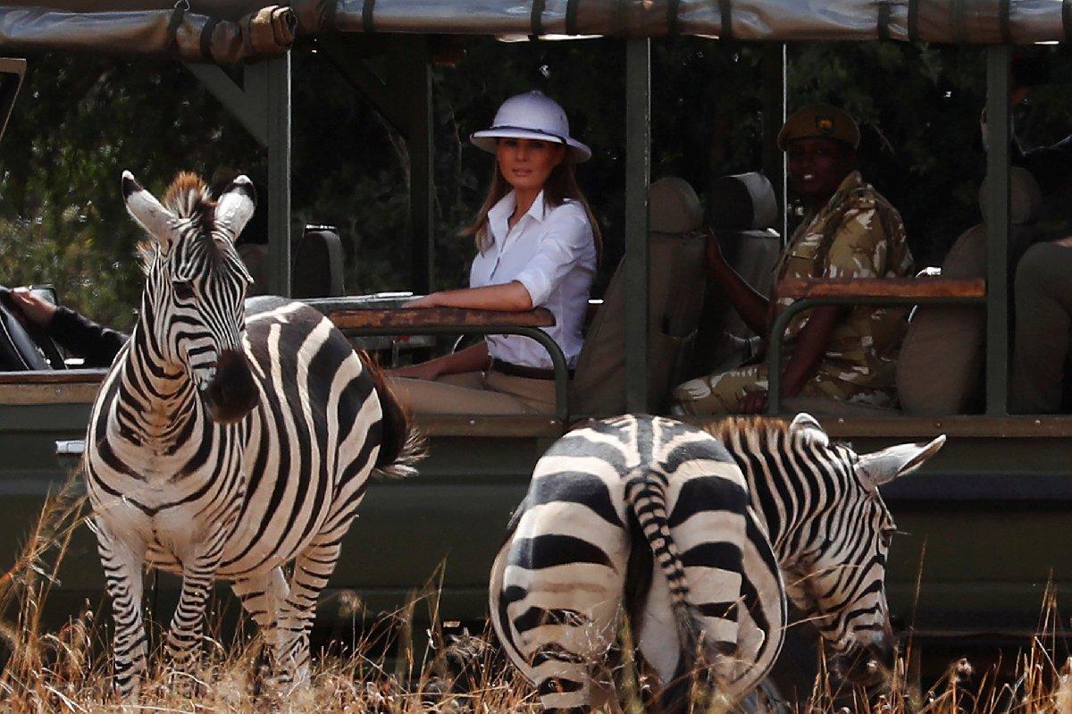 Trump, Kenya'daki Nairobi Ulusal Parkı'na gitti.