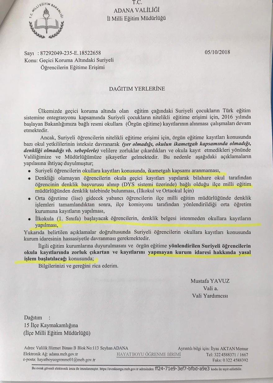 İŞTE O TALİMAT Adana Vali Yardımcısı Yavuz'un yazısı, kaymakamlıklar aracılığı ile kentteki tüm okullara dağıtıldı.