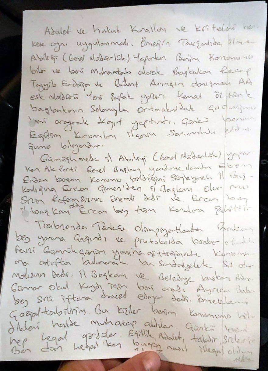İŞTE O İFADE Muhammet Köleoğlu, Trabzon 2. Ağır Ceza Mahkemesi'ne el yazısıyla yazdığı 3 sayfalık ifadesinde, 19 kişilik referans listesi verdi.