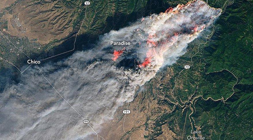 Yangın uydular tarafından böyle görüntülendi. AA