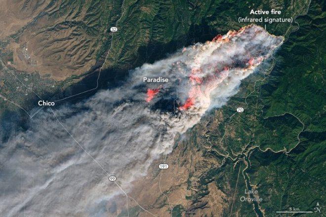 Yangından en çok etkilenen Paradise kasabasının uydu görüntüsü.