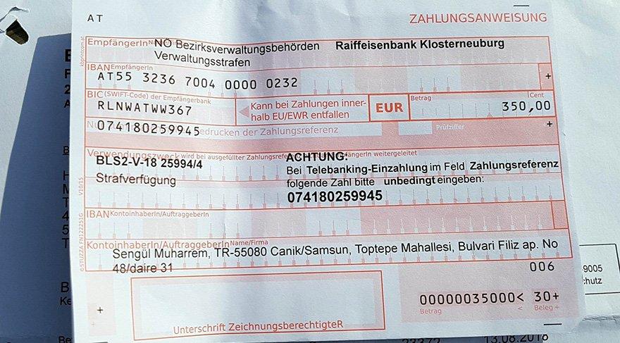 Hiç gitmediği Avusturya'dan adresine 350 euroluk trafik cezası geldi. Foto: İHA