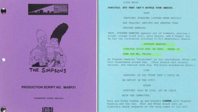 Çizgi dizi Simpsonlar'ın, Hawking'den bahsettiği bölümünün senaryosu.