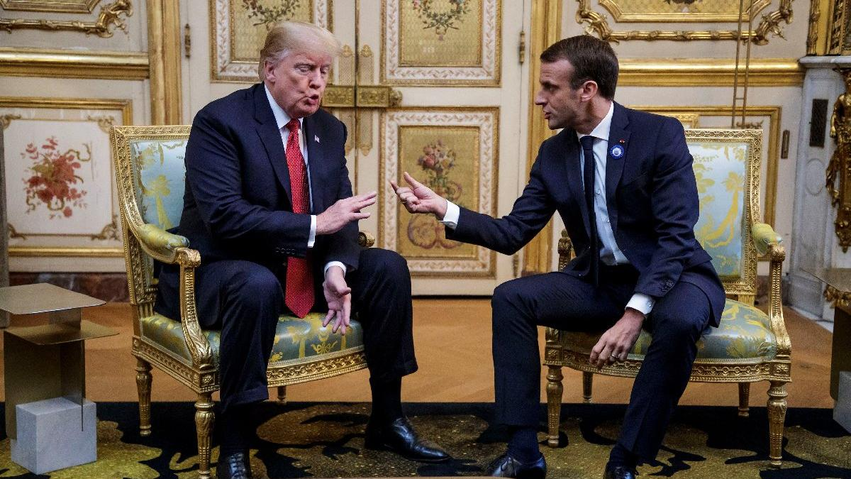 Trump ve Macron'dan gergin buluşma! Aralarından su sızmıyordu... Nereden nereye?