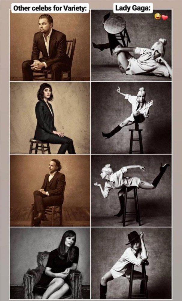 Bu fotoğraf sosyal medyaya damgasını vurdu. Derginin klasik sandalyeli pozunu daha önce pek çok ünlü isim verdi. Ama ilk kez Lady Gaga farklı pozlar denedi...