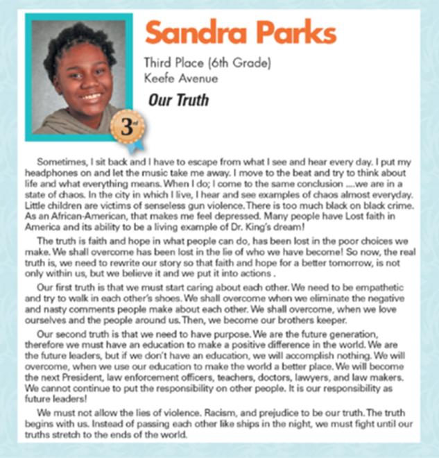 Parks'ın ödül aldığı makale.
