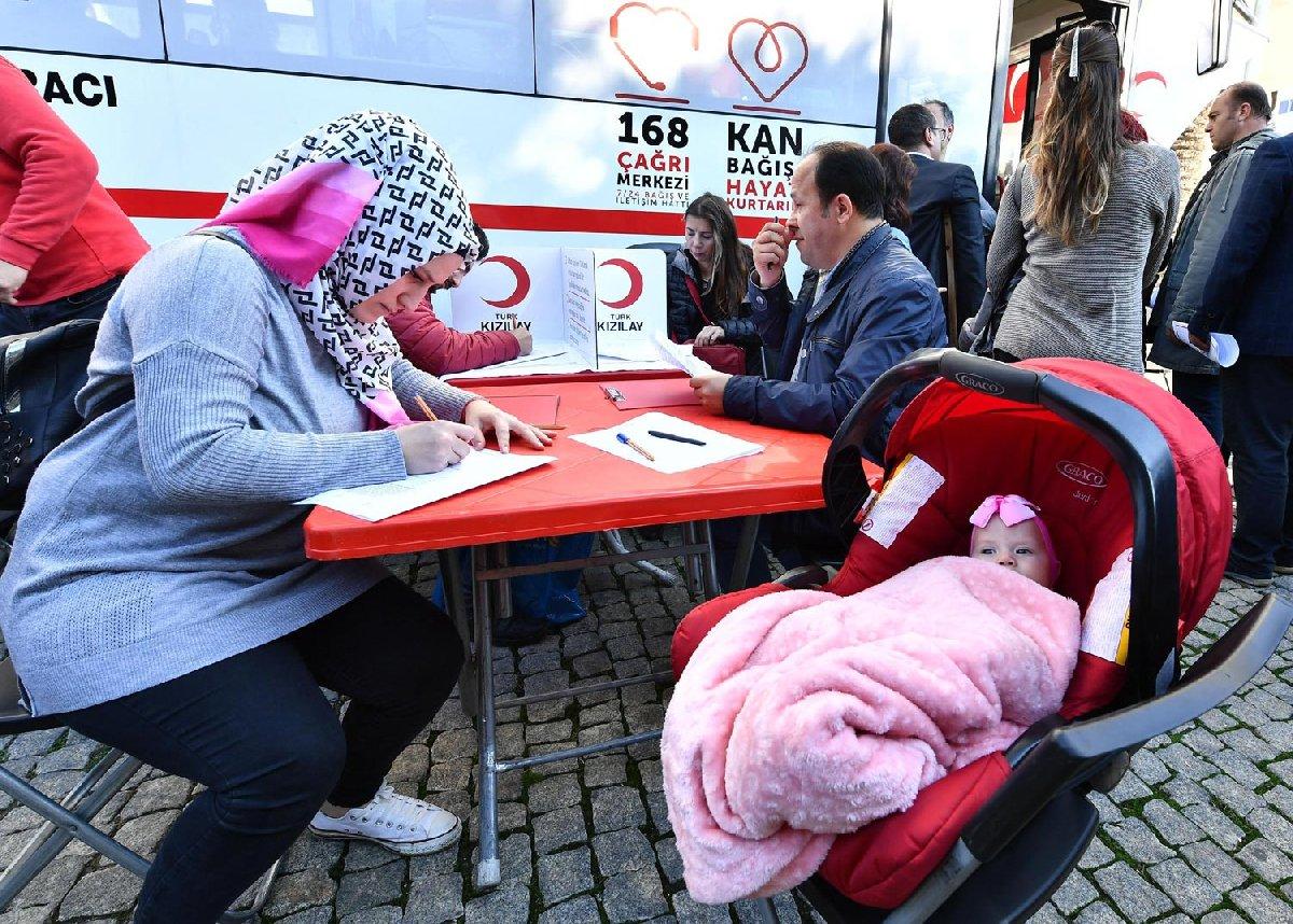 FOTO: DHA / Öykü için kundaktaki bebeğiyle gelen bir anne sırada böyle bekledi.