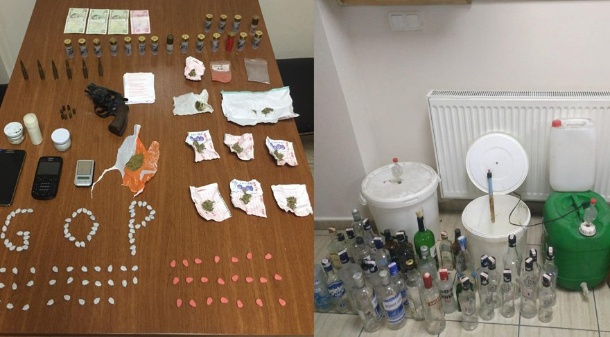 Pitbullar uyutulduktan sonra girilen evde uyuşturucu madde ve sahte içki yapımında kullanılan malzeme le geçirildi. Foto Sözcü