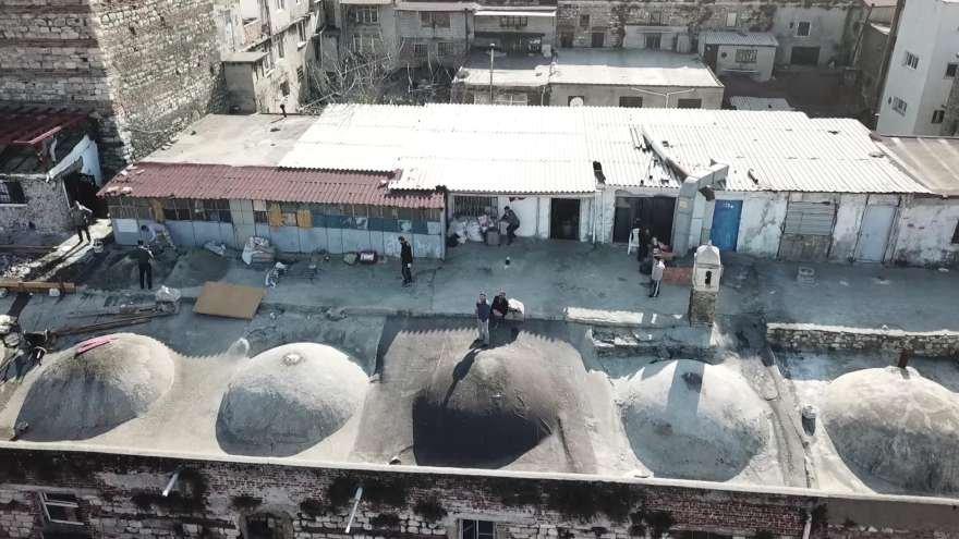 Kuledeki tahribat havadan görüntülendi. Foto: DHA