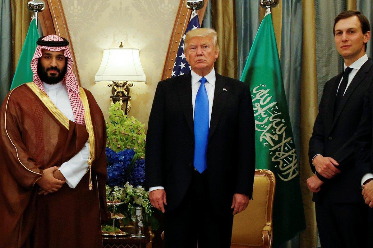 Prens Selman, ABD Başkanı Trump, Trump'ın Orta Doğu danışmanı ve damadı Kushner.