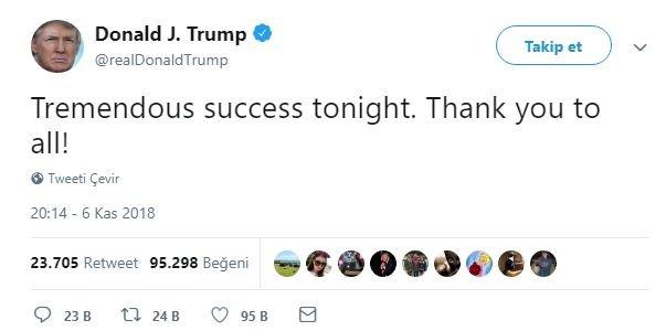 Trump, sandıklar açılırken Twitter'dan bir açıklama yaptı.