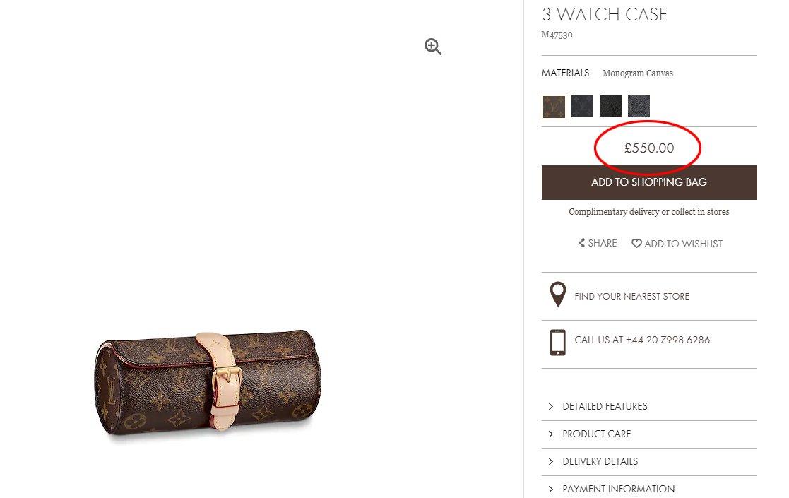 Louis Vuitton'ın internet sitesindeki çantanın fiyatı 550 pound.