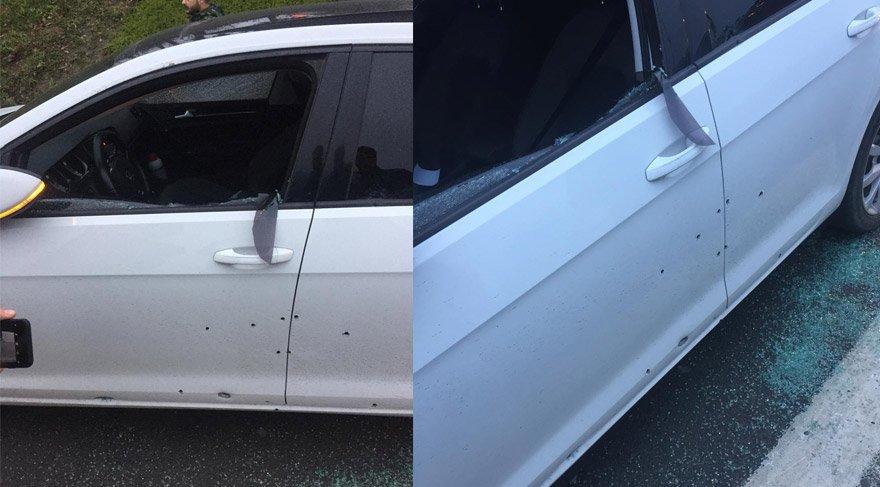 20'ye yakın mermiyle taranan araçta bulunan 2 kişi yaralanmıştı.